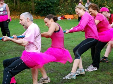 Breast cancer fundraising events – tug of war in a pink tutu