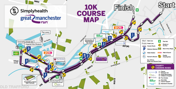 Great Manchester Run 10K Route Map Prevent Breast Cancer Charity UK