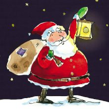 Santa and Lantern Christmas Cards Prevent Breast Cancer Charity UK