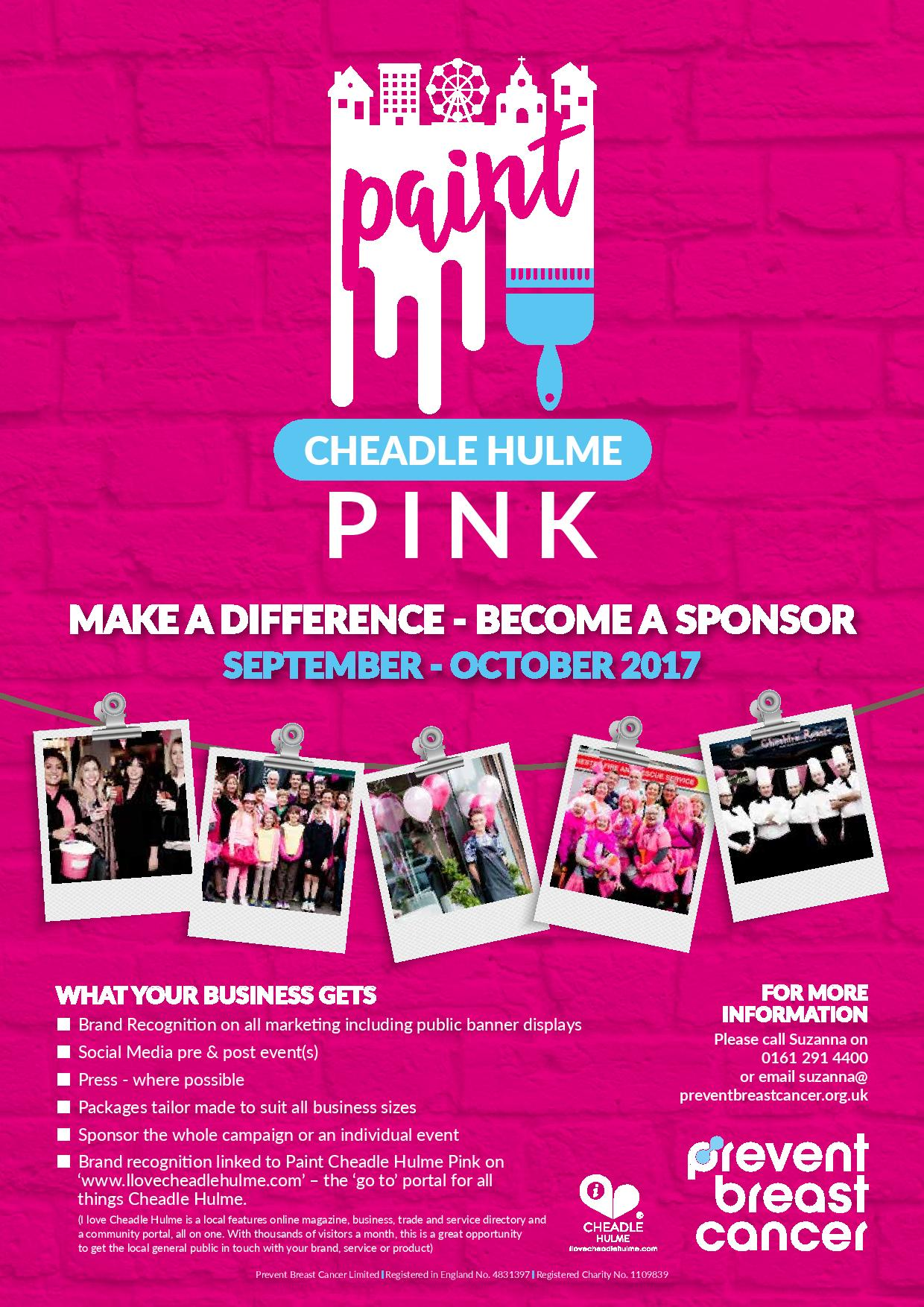 Paint Cheadle Hulme Pink Sponsorship Poster Prevent Breast Cancer Charity