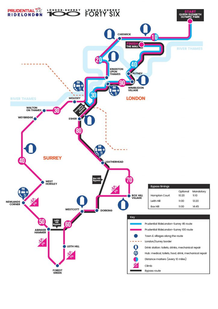 2017 Prudential RideLondon-Surrey 100 route map