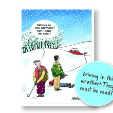 Golfing in the Snow Christmas Cards Prevent Breast Cancer Charity UK