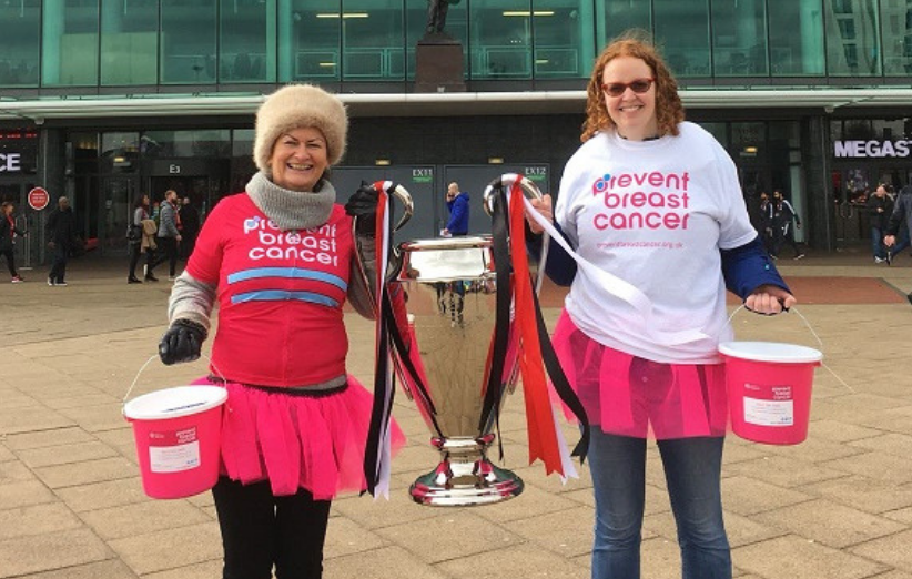 Manchester United Bucket Collection Prevent Breast Cancer Charity UK