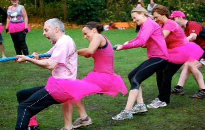 pink military fitness tug of war