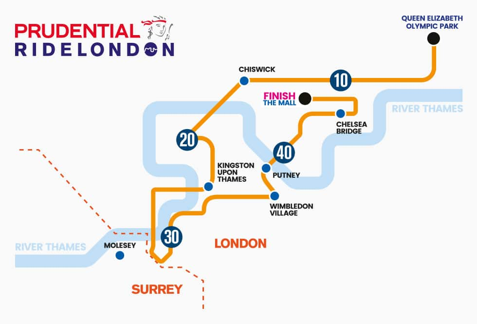 Prudential RideLondon 46 Route Map Prevent Breast Cancer Charity UK
