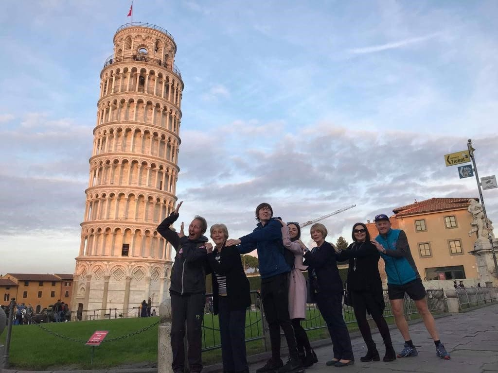 Family Tower of Pisa Chris and Gabs Prevent Breast Cancer Charity UK