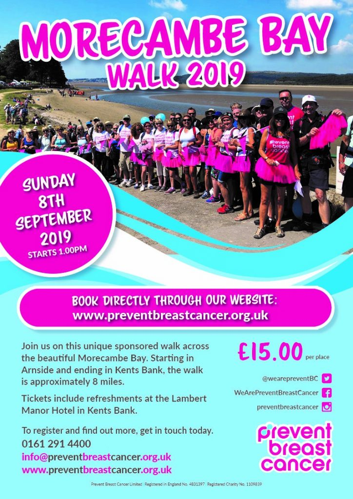 Morecambe Bay Sponsored Walk Poster 2019 in aid of Prevent Breast Cancer