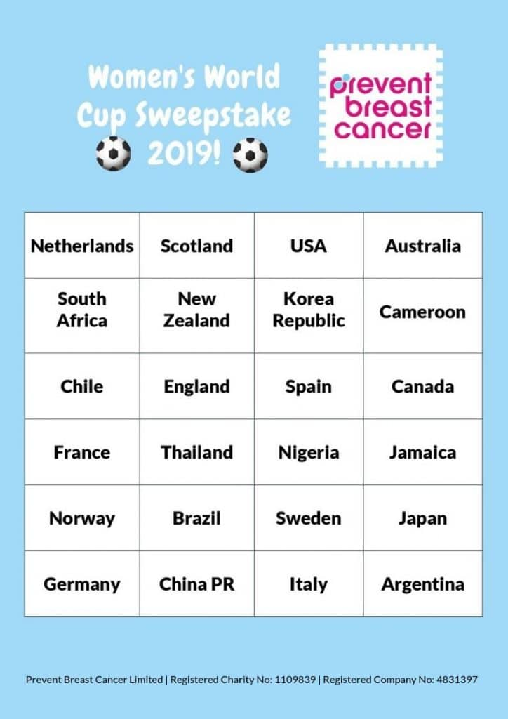 Prevent Breast Cancer Women's World Cup Sweepstake 2019 Teams