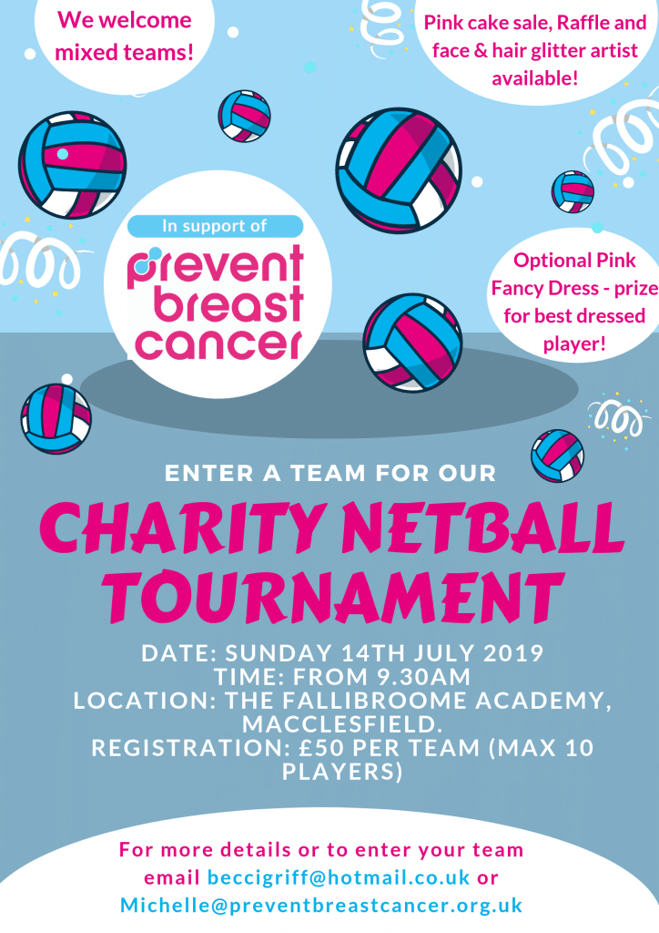 Annual Netball Tournament Prevent Breast Cancer Charity UK