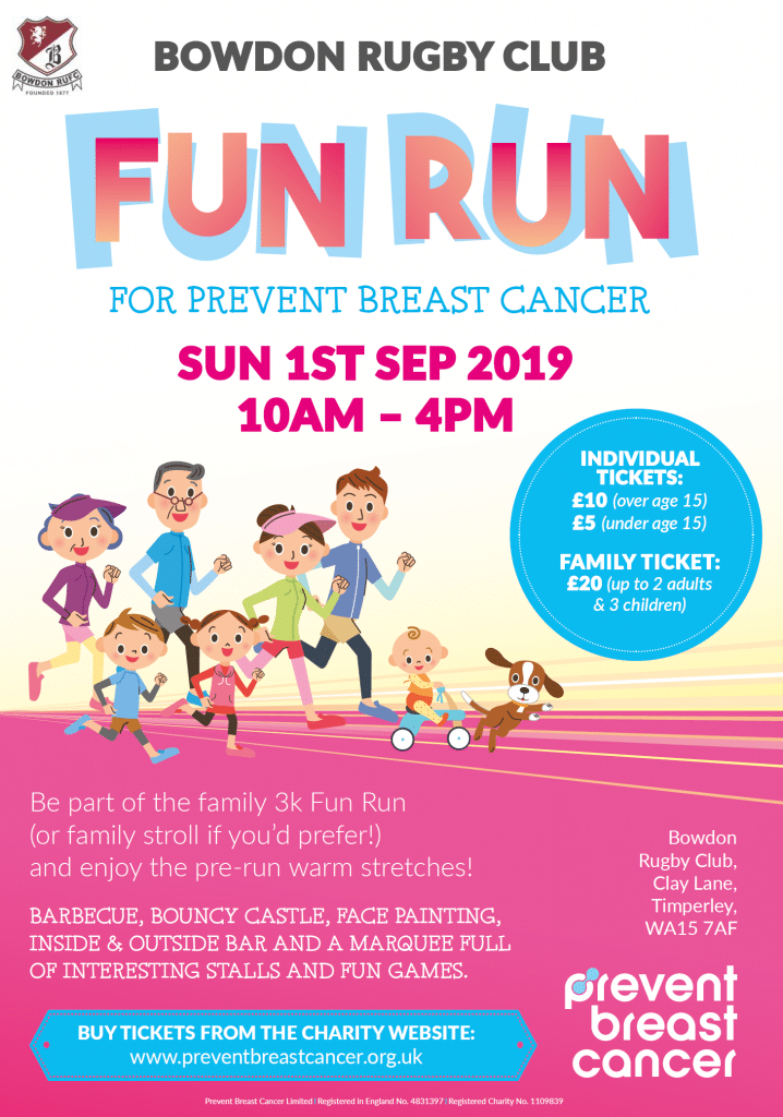 Bowdon Rugby Club Fun Run Prevent Breast Cancer Charity UK
