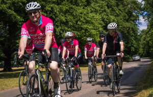 Cycling in a Group RideLondon Prevent Breast Cancer Charity