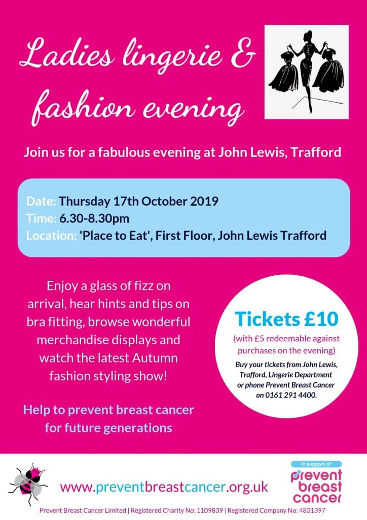 John Lewis Trafford Centre Fashion Show Prevent Breast Cancer Charity UK