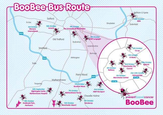 BooBee Bus Route Prevent Breast Cancer Charity