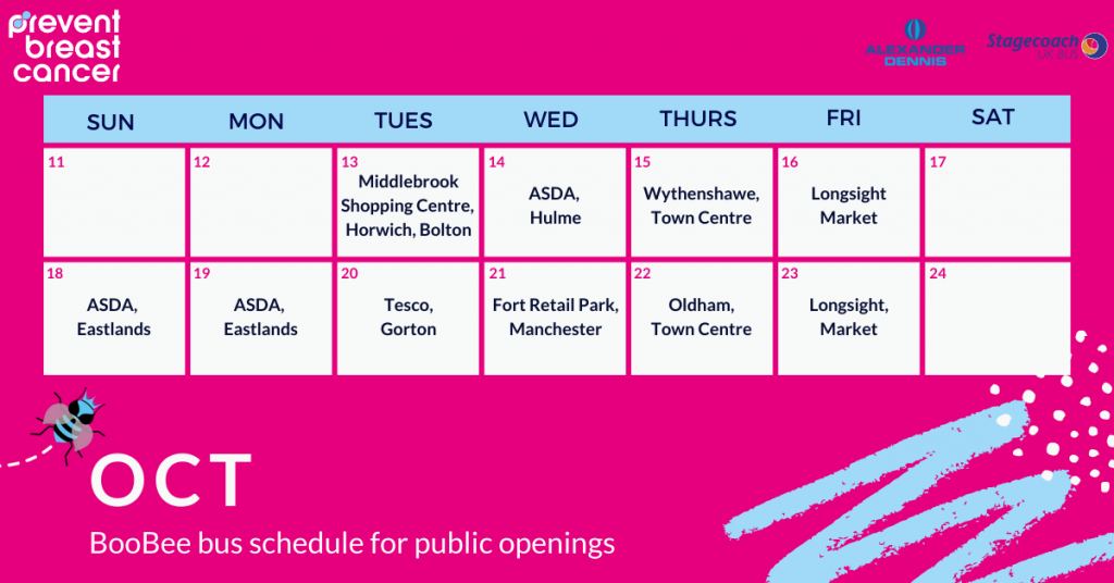 BooBee Bus Schedule Prevent Breast Cancer Charity UK